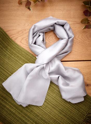 Étole à effet satin, Gris,  automne 2021, accessoires, étole, foulard, étole de soirée, habillé, soie, satin