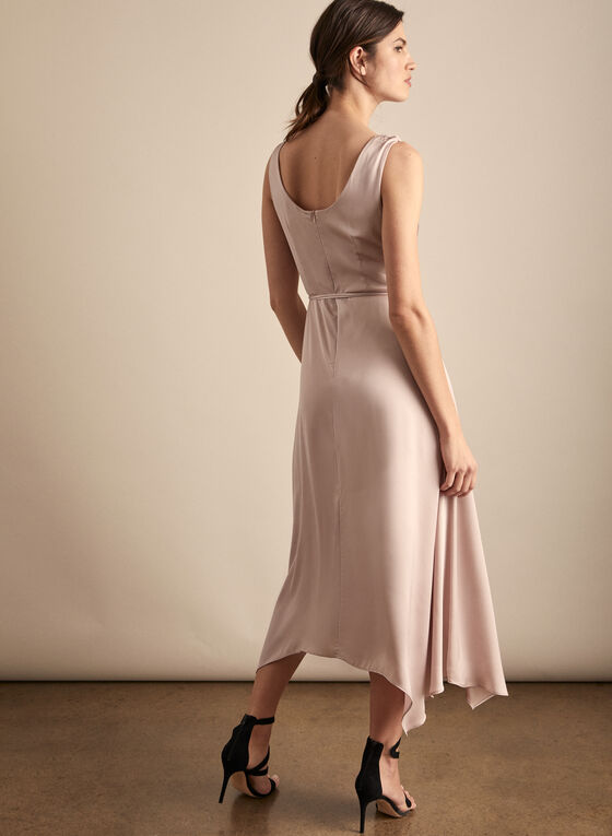 Cowl Neck Satin Dress, Pink