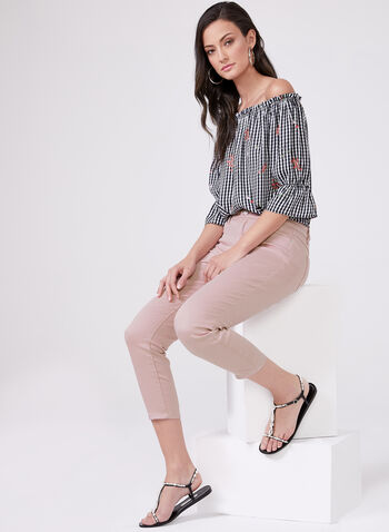 Slim Leg Denim Capris, Pink, hi-res