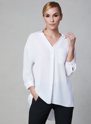Frank Lyman - V-Neck Blouse, White, hi-res