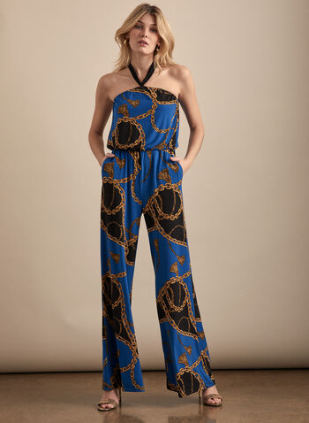 Chain Motif Halter Neck Jumpsuit, Blue,  jumpsuit, chain, halter, sleeveless, elastic waist, wide leg, jersey, spring summer 2020