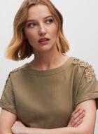 Shoulder Detail Linen Blouse, Green