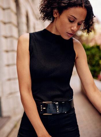Sleeveless Knit Top, Black,  fall winter 2021, sleeveless, mock neck, turtleneck, high neck, knit, x knit, detail, ribbed, soft, camisole, tank, top, shirt