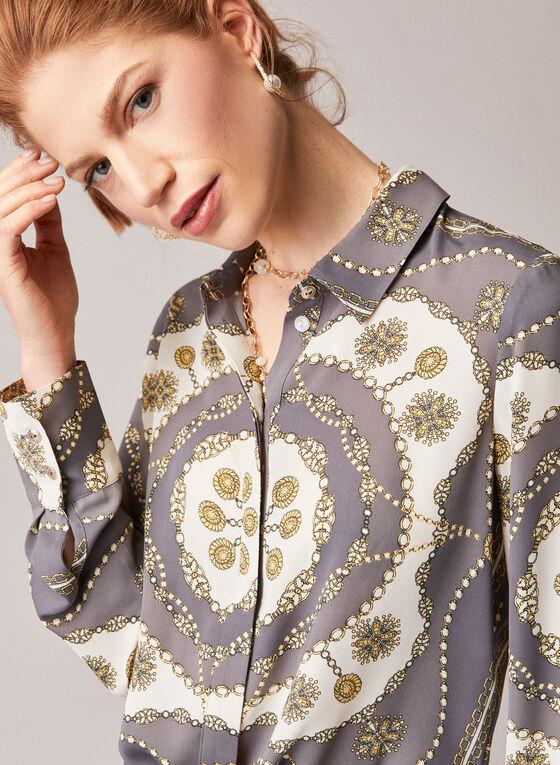 Chain Print Long Sleeve Blouse, Grey