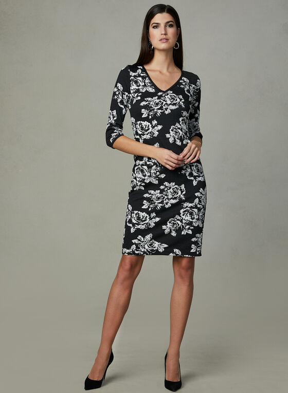 Taylor - Floral Print Sheath Dress, Black, hi-res