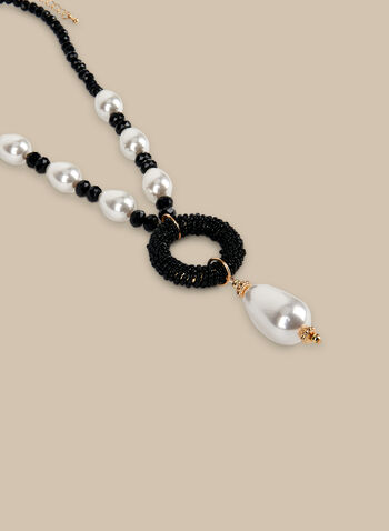 Short Beads & Pearls Necklace, Black,  necklace, beads, pearls, pearl necklace, spring 2020, summer 2020