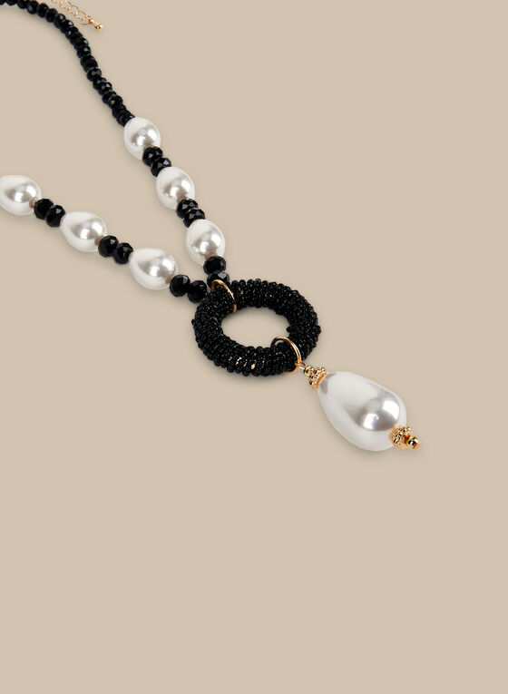 Short Beads & Pearls Necklace, Black