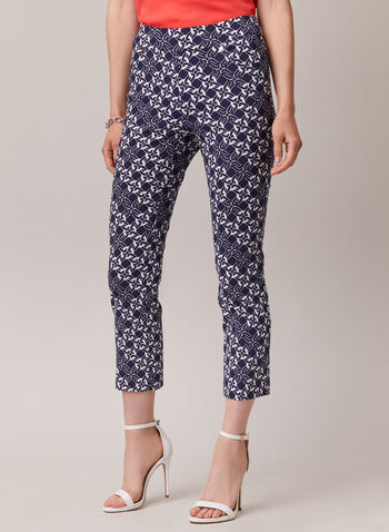 Chain Print Pull-On Capris, Blue,  capris, pull-on, bengaline, pockets, slim leg, chain print, spring summer 2020