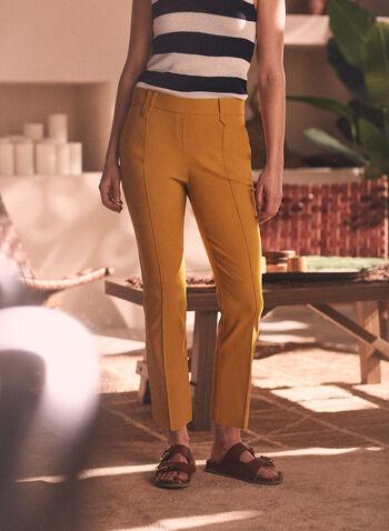 Pantalon jambe droite à enfiler, Jaune,  pantalon, pull-on, à enfiler, jambe droite, poches, taille mi-haute, coutures, printemps été 2021