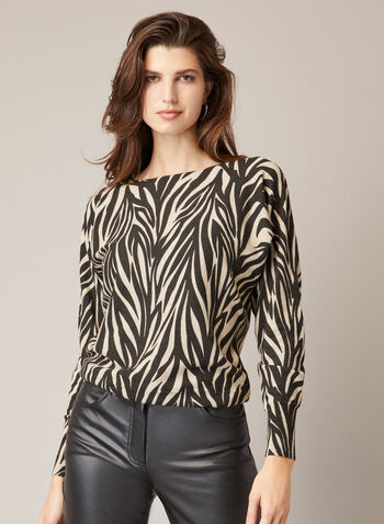 Zebra Print Sweater, Black,  fall winter 2020, holiday, sweater, knit, zebra print, printed, pattern, boat neck, dolman sleeve, long sleeve