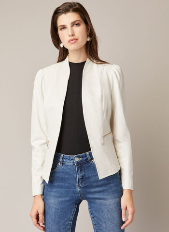 Open Vegan Leather Jacket, Off White,  fall winter 2020, vegan leather, faux leather, open, edge to edge, stand collar, puff sleeve, long sleeve, zip pocket, layer, jacket