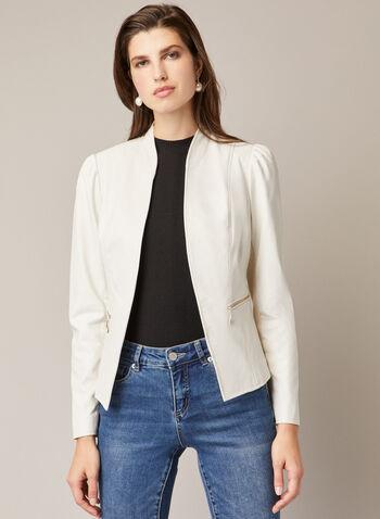 Veste en cuir végane ouverte , Blanc cassé,  automne hiver 2020, veste, faux cuir, col montant, manches longues, bouffantes, poches zippées, cuir végane