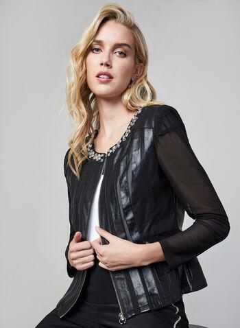 Frank Lyman - Jewel Embellished Jacket, Black, hi-res,  Frank Lyman, jacket, long sleeves, mesh, faux leather, zipper front, fall 2019, winter 2019