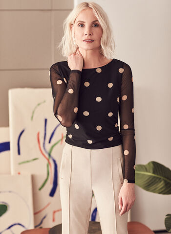 Polka Dot Print Mesh Top, Black,  top, blouse, mesh, polka dot, jersey, boat neck, spring summer 2021