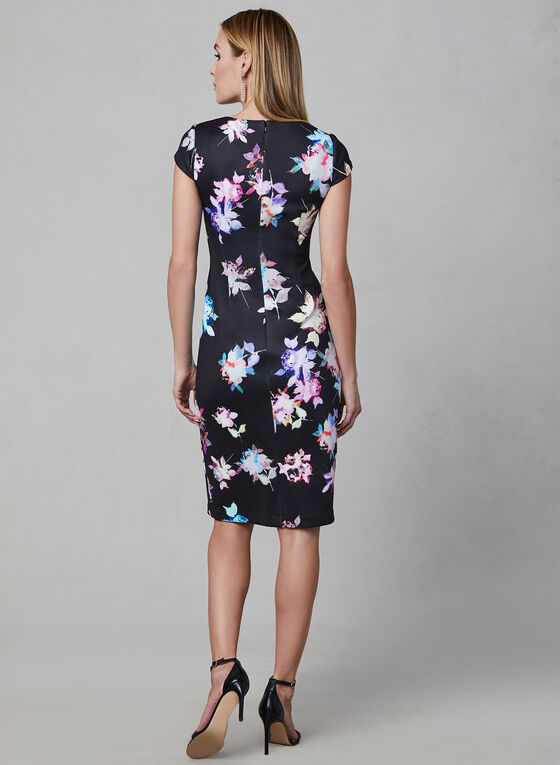 Adrianna Papell - Floral Print Sheath Dress, Black