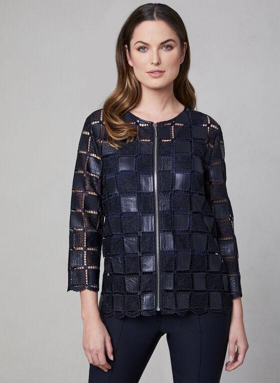 Frank Lyman - Crochet Faux Leather Jacket, Blue