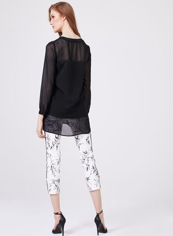 Illusion Sleeve Double Layer Blouse, Black, hi-res