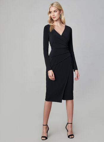 Maggy London - Robe à effet drapé, Noir, hi-res,  robe à manches longues, manches longues, robe ajustée, robe décolletée, automne hiver 2019