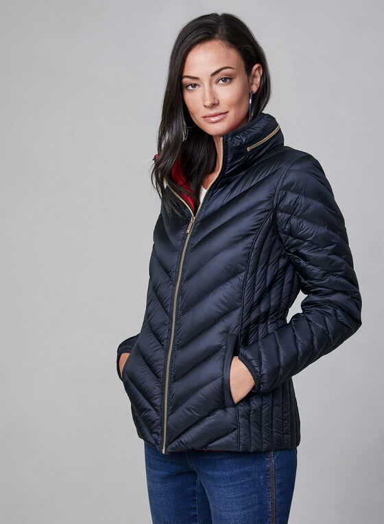 Anne Klein - Short Down Quilt Coat, Blue