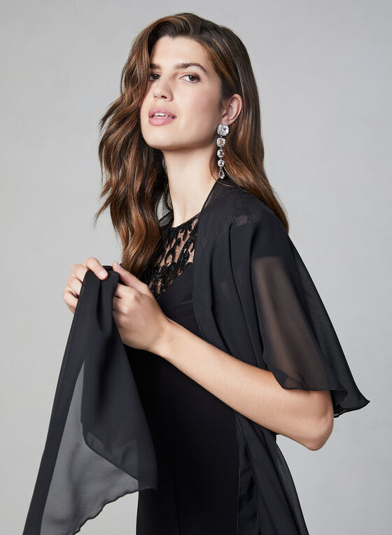 Chiffon Horseshoe Shawl, Black