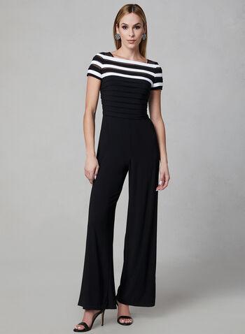 Adrianna Papell - Combinaison à corsage rayé, Noir, hi-res