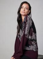 Paisley Print Knit Sweater, Purple, hi-res