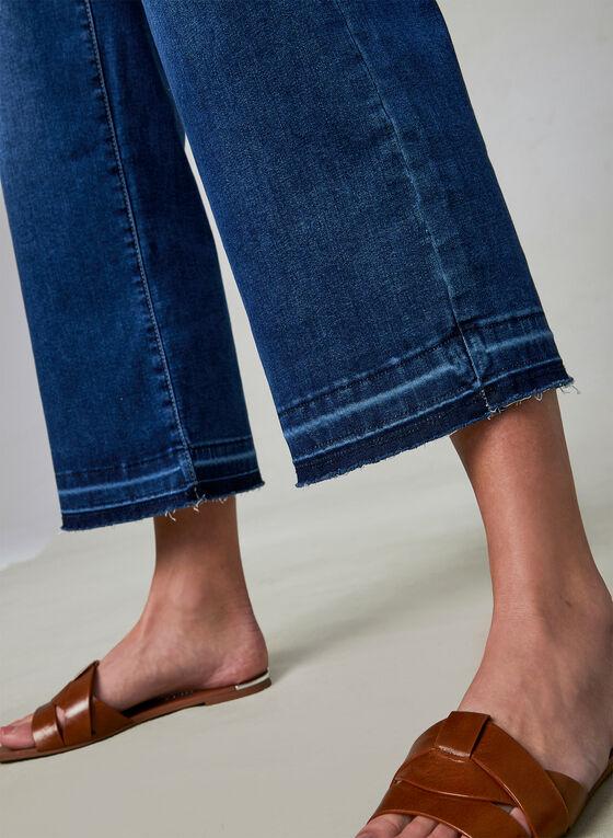 Jean à jambe large et ourlet effiloché, Bleu
