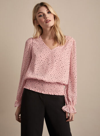 Chiffon Polka Dot Blouse, Multi,  blouse, top, polka dot, balloon sleeves, v-neck, chiffon, elastic, smocked, spring summer 2020