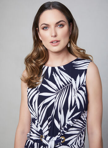 Sandra Darren - Palm Print Jumpsuit, Blue, hi-res