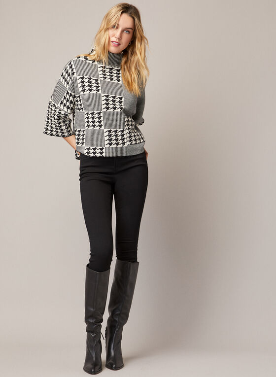 Houndstooth Print Sweater, Black