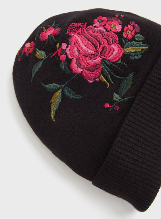 Floral Embroidered Knit Hat, Black, hi-res