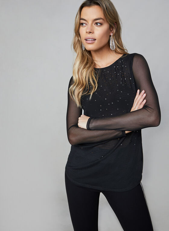 Rhinestone-Embellished Mesh Top, Black