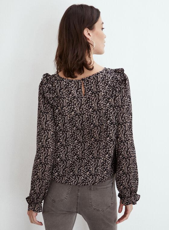 Ruffle Detail Floral Print Blouse, Black