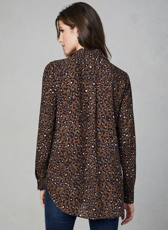 Chemisier en mousseline à motif léopard, Brun, hi-res