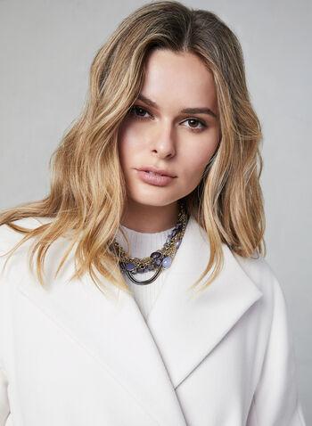 Manteau ceinturé aspect laine, Blanc cassé,  automne hiver 2019, manteau, ceinture, cintré, laine, revers, manches longues, ajusté