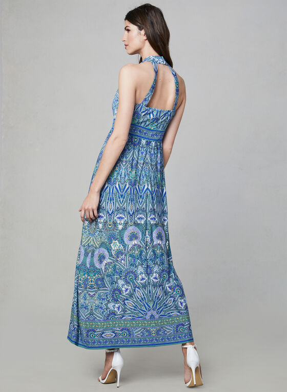 Mandala Print Maxi Dress, Blue