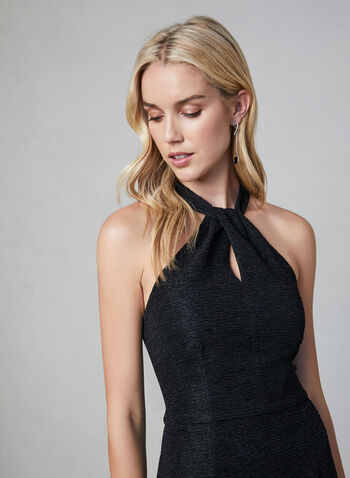Maggy London - Halter Neck Glitter Dress, Black, hi-res,  fall winter 2019, textured crepe fabric, cocktail dress