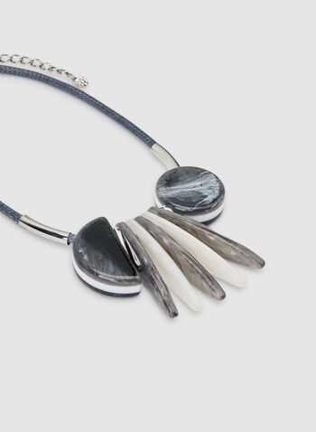 Short Geometric Necklace, Grey, hi-res,  cord necklace