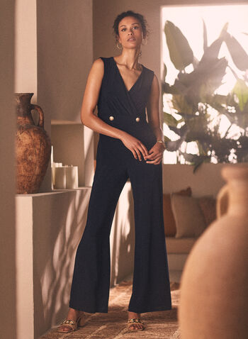 Joseph Ribkoff - Sleeveless V-Neck Jumpsuit, Blue,  jumpsuit, v-neck, sleeveless, button detail, wide leg, ribkoff, lyman, spring summer 2021