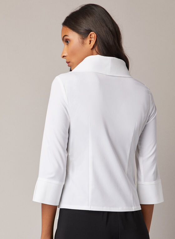 Joseph Ribkoff - 3/4 Sleeve Crossover Blouse, White