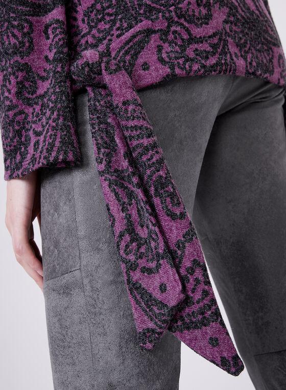Paisley Print Side Tie Sweater , Purple, hi-res