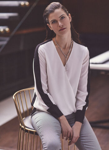 Crepe Contrast Blouse, Off White,  blouse, top, long sleeves, v-neck, wrap, contrast, crepe, chiffon, spring summer 2020