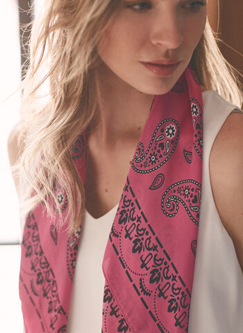 Paisley Print Lightweight Scarf, Pink,  scarf, lightweight, square, paisley, spring summer 2021