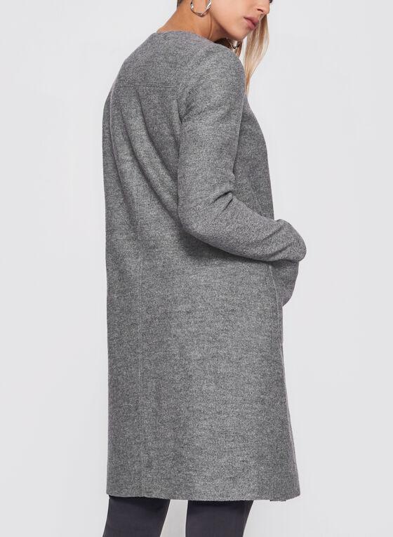 Manteau en laine bouillie avec grandes poches, Gris, hi-res