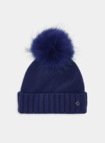 Fur Pompom Toque, Blue, hi-res