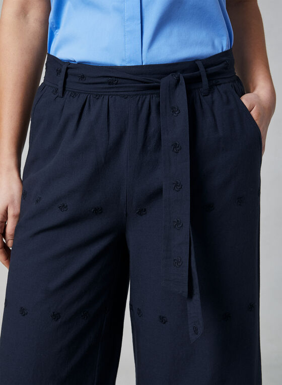 Eyelet Hem Wide Leg Pants, Blue, hi-res