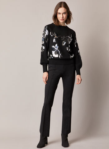 Metallic Knit Pull-On Pants, Black,  pants, pull-on, ponte di roma, lurex, metallic, slim leg, fall winter 2020