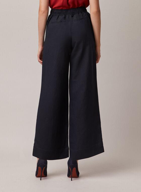 Linen Wide Leg Pants, Blue