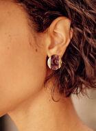 Round Resin Button Earrings, Purple