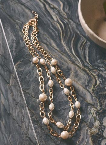 Collier à maillons et perles , Blanc cassé,  printemps été 2021, bijoux, collier, maillons, doré, perles
